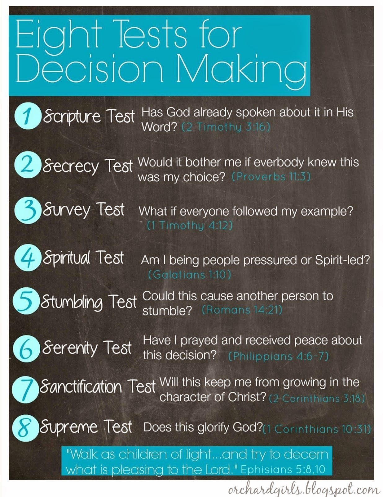 Orchard Girls: Eight Tests For Decision Making | Free Printable - Free Printable Spiritual Gifts Test