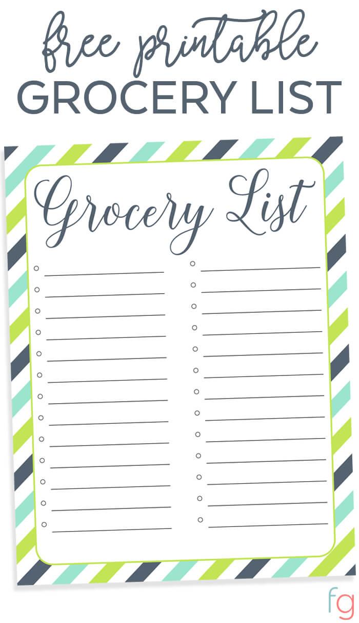 Organizing Grocery List - Free Printable - Free Printable Shopping List