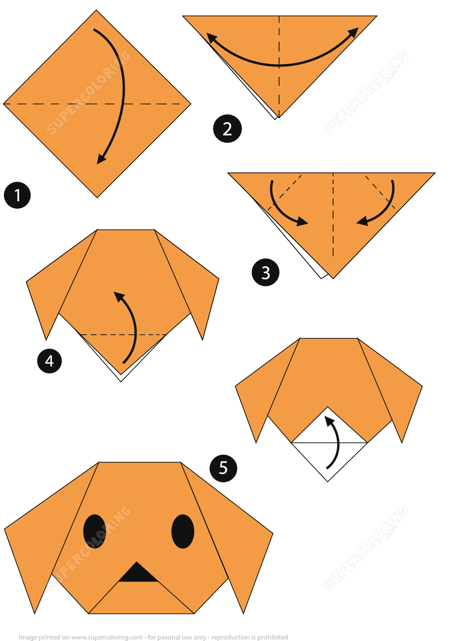 Origami Stepstep Instructions Of A Dog Face | Free Printable - Printable Origami Instructions Free