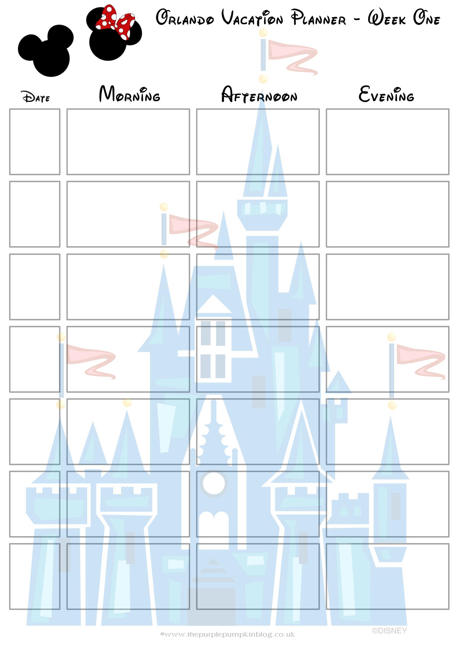 Orlando, Walt Disney World Vacation Planner | Free Printable - Free Printable Disney Stories