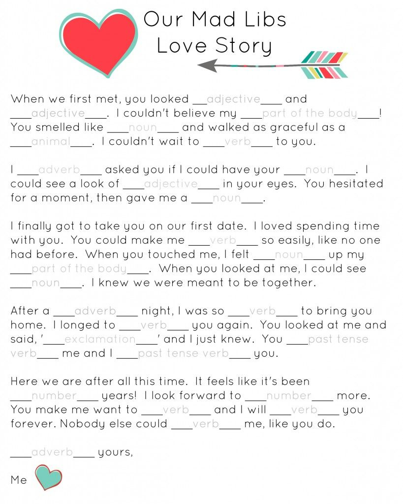 Our Mad Libs Love Story ~ Free Printable (And Laughs   Diy & Crafts - Free Printable Mad Libs
