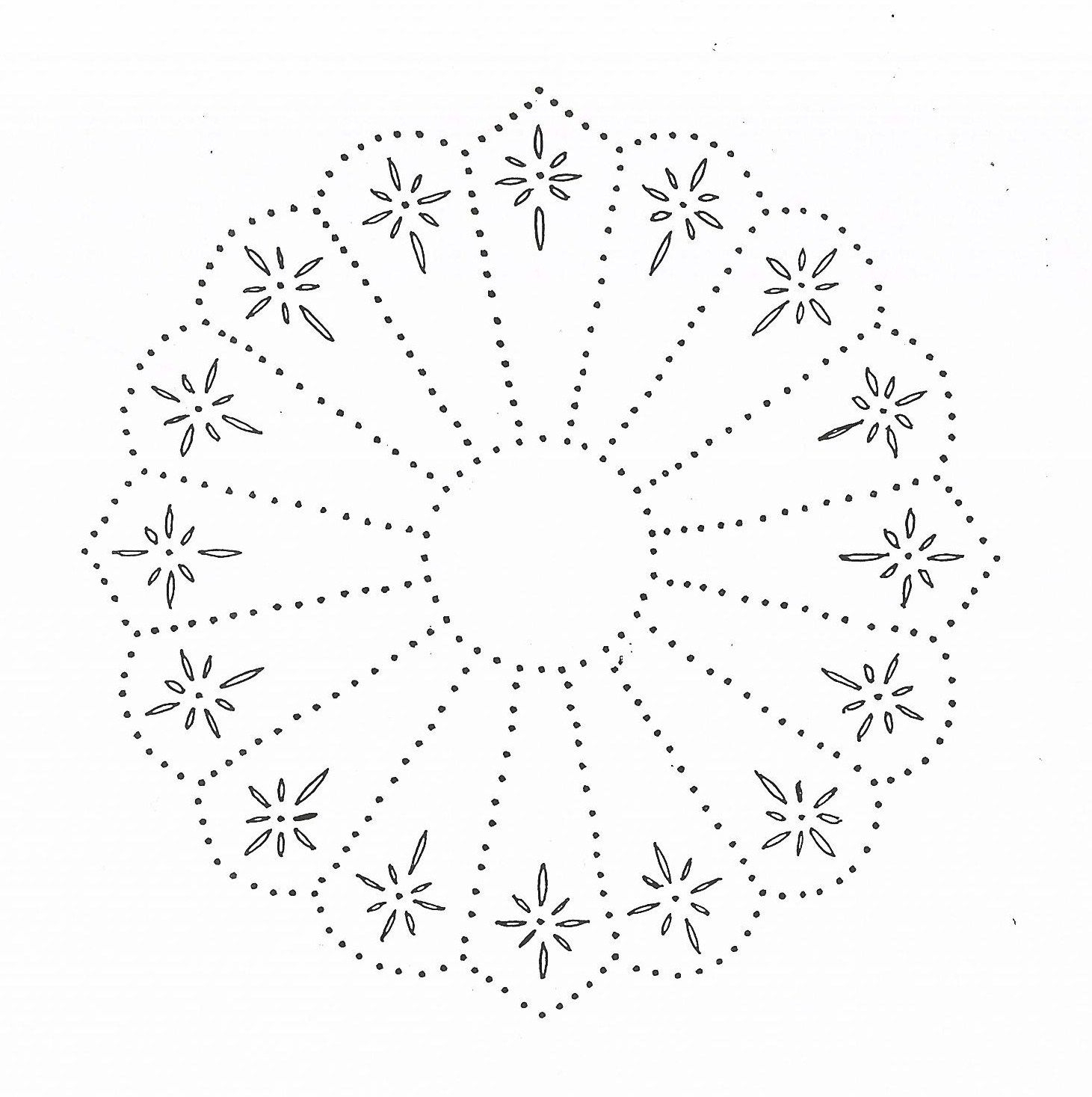 P 1150 Dresden Plate 10X10 | Art & Crafts | Punched Tin Patterns - Printable Tin Punch Patterns Free