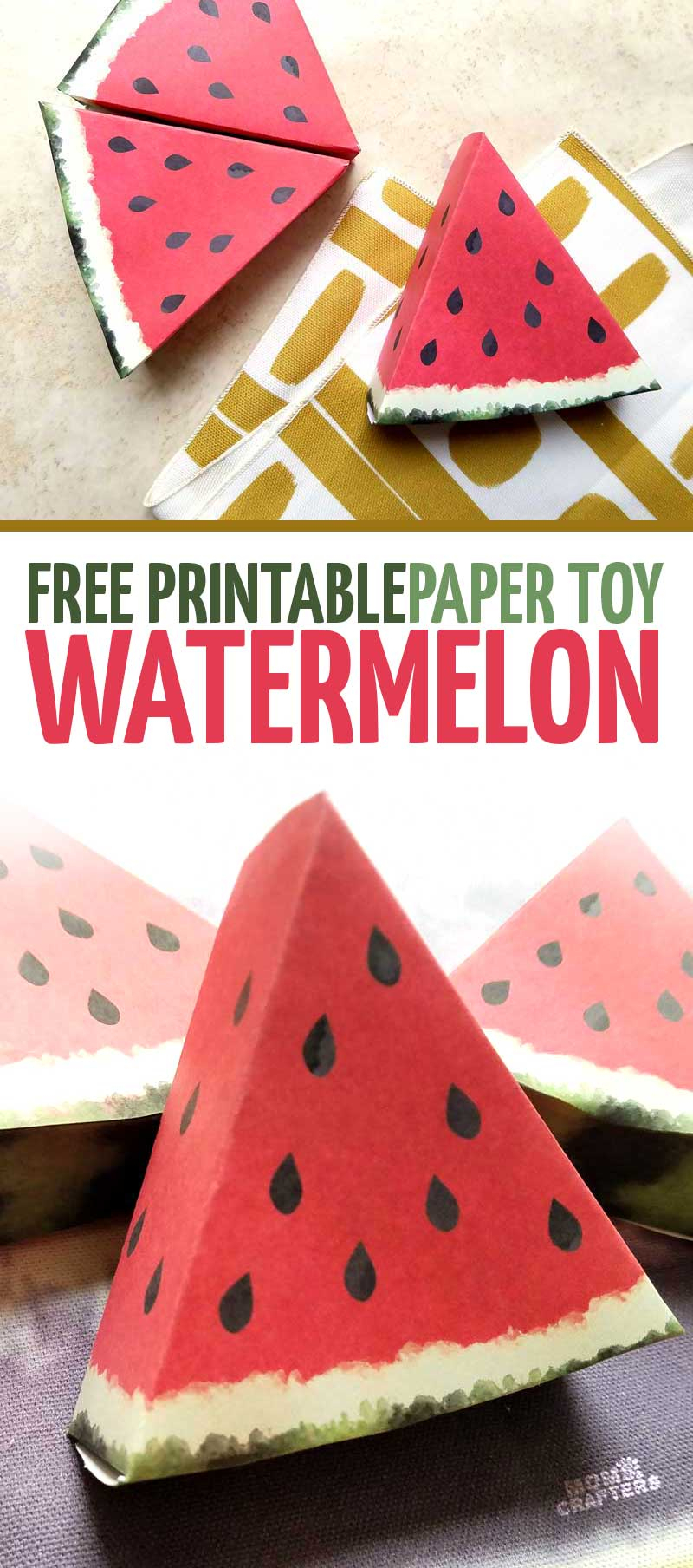 Paper Craft Templates For Play Fruit: Watermelon – Moms And Crafters - Free Printable Paper Crafts