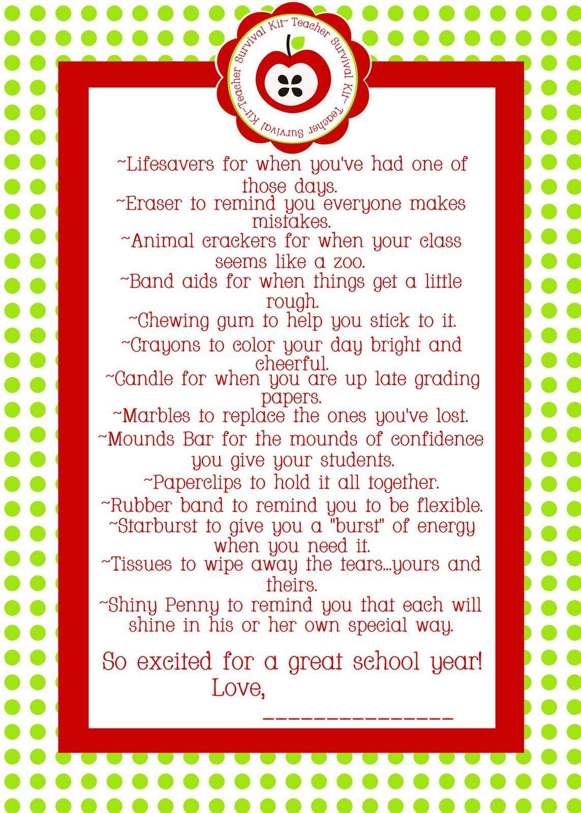 Paperlicious Girls: Free Printable~Teacher Survival Kit | Teacher - Teacher Survival Kit Free Printable