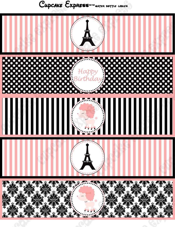 Paris Water Bottle Labels Girls Printable Birthday Party Drink Wraps - Free Printable Paris Water Bottle Labels