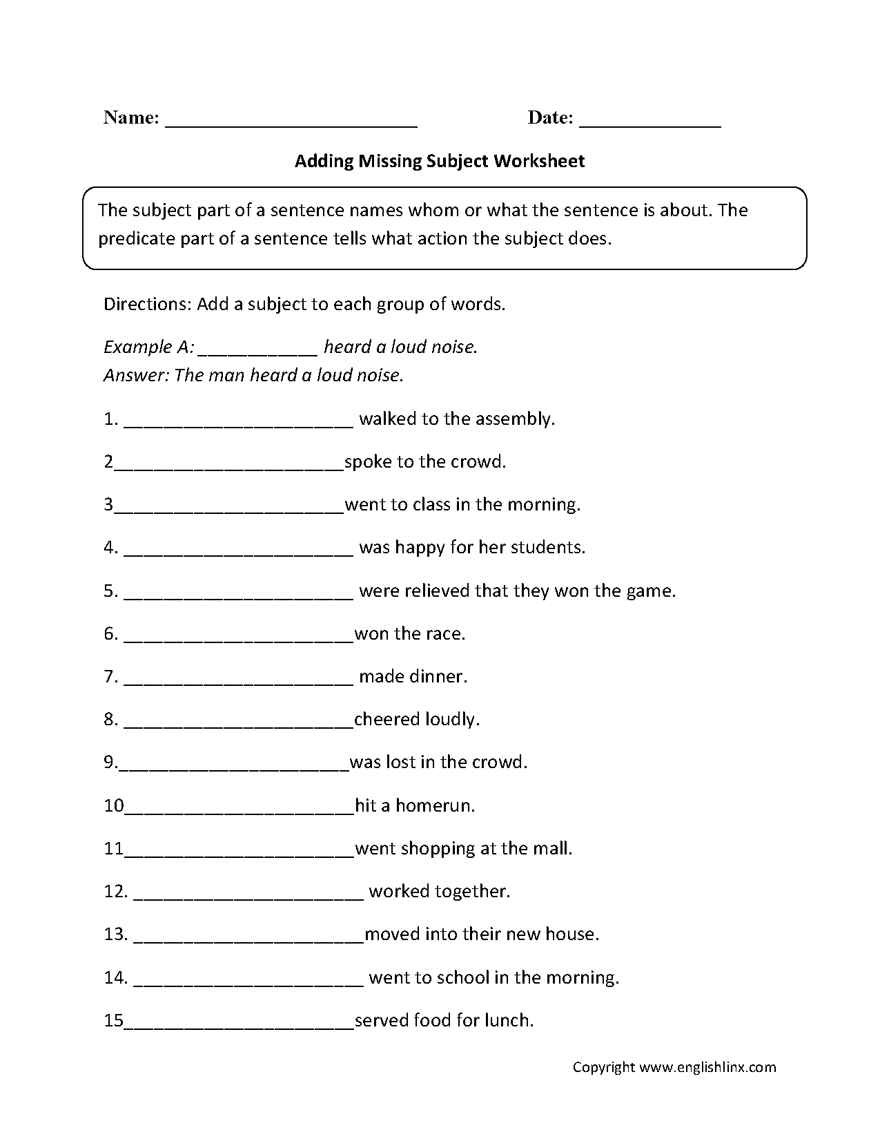 Parts Of A Sentence Worksheets | Subject And Predicate Worksheets - Free Printable Subject Predicate Worksheets 2Nd Grade