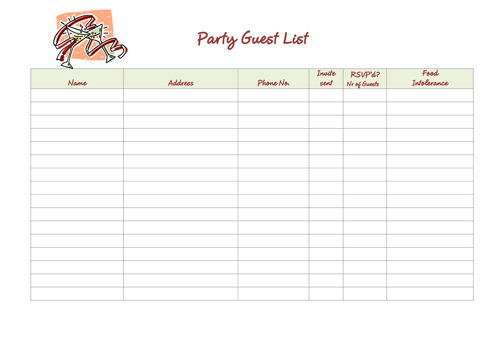 graphic regarding Birthday List Printable titled Get together Visitor Listing Template. Revolutionary Excel Make contact with Record
