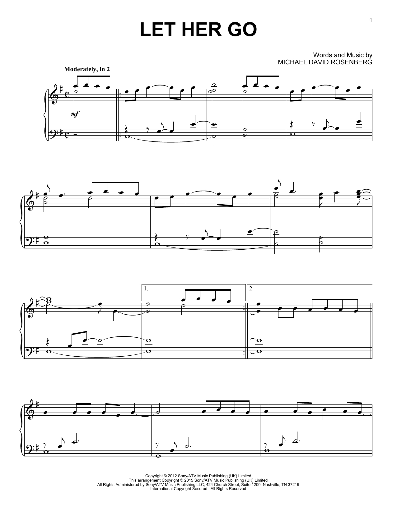 "Passenger ""let Her Go"" Sheet Music Notes, Chords 