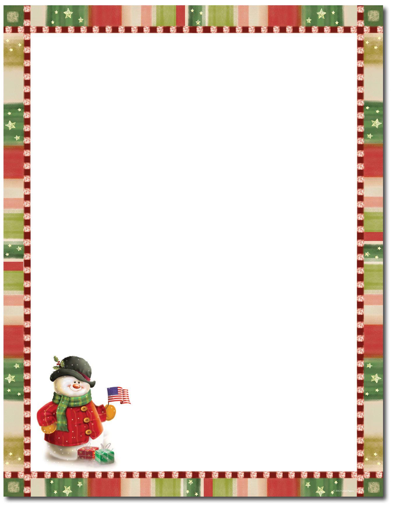Patriotic Snowman Letterhead | Christmas Stationery | Christmas - Free Printable Christmas Stationery Paper