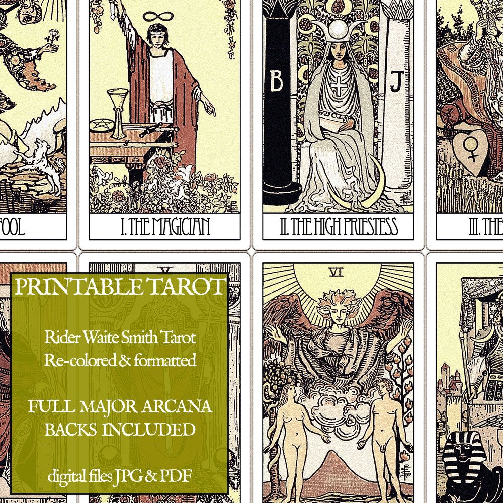 Pdf - Printable Tarot Cards - Rider Waite Major Arcana - Vintage - Free Printable Tarot Cards