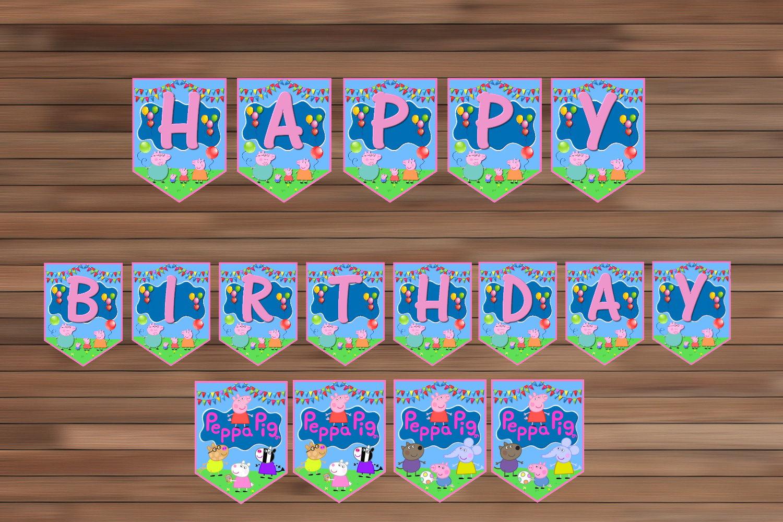 Peppa Pig Birthday Party Decoration, Peppamagianrainbow On Zibbet - Peppa Pig Birthday Banner Printable Free