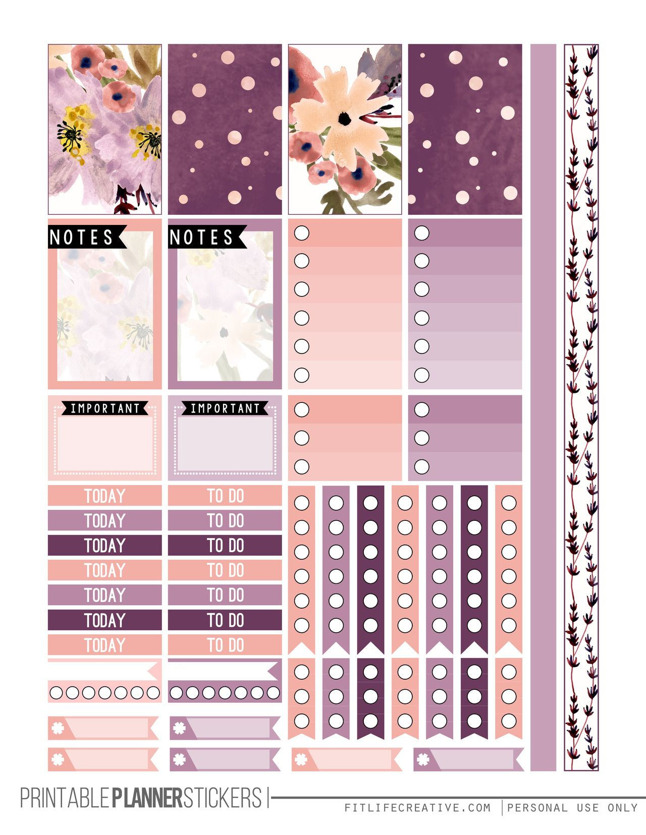 Perfectly Purple Free Printable Planner Stickers For The Classic - Happy Planner Free Printable Stickers