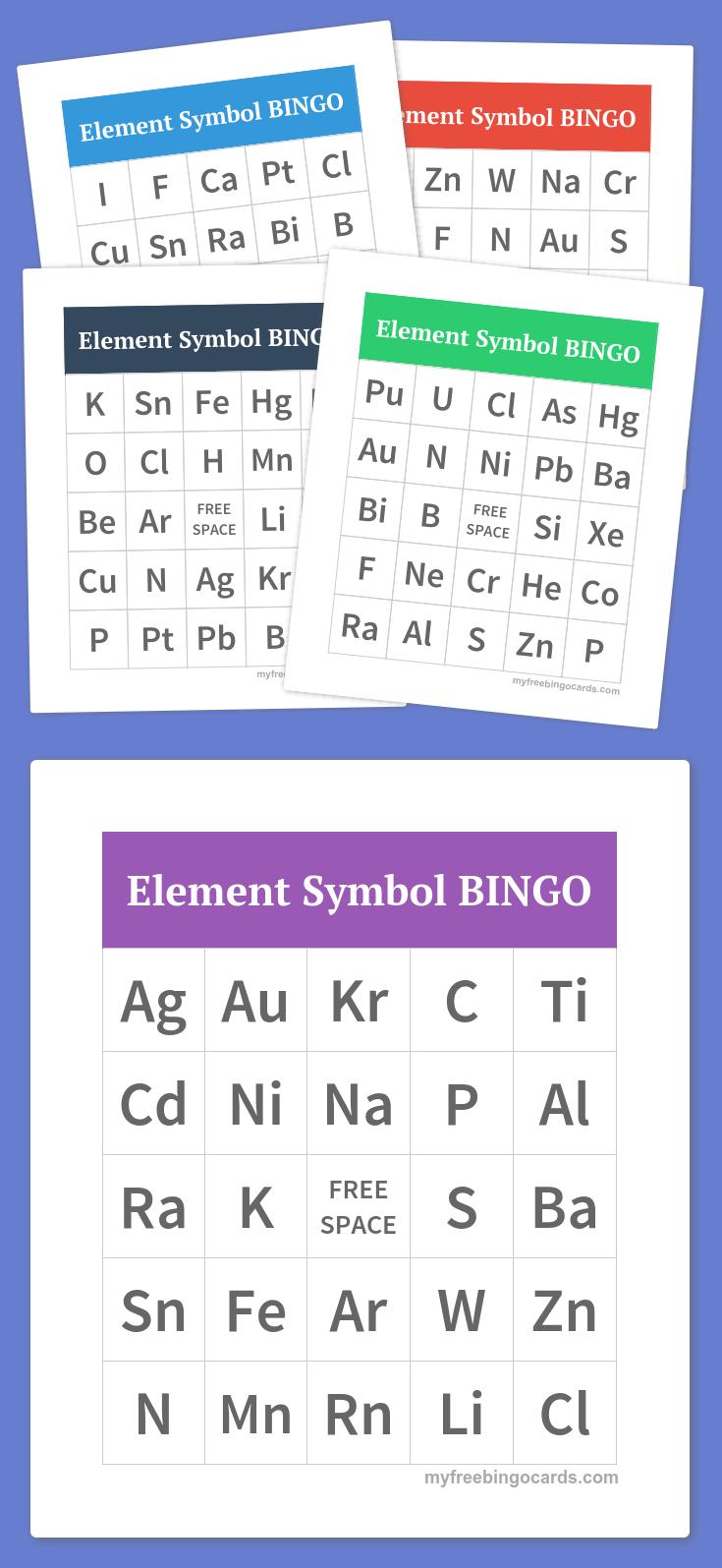 Periodic Table Element Symbol Bingo   The Periodic Table   Pinterest - Free Printable Bingo Cards For Teachers