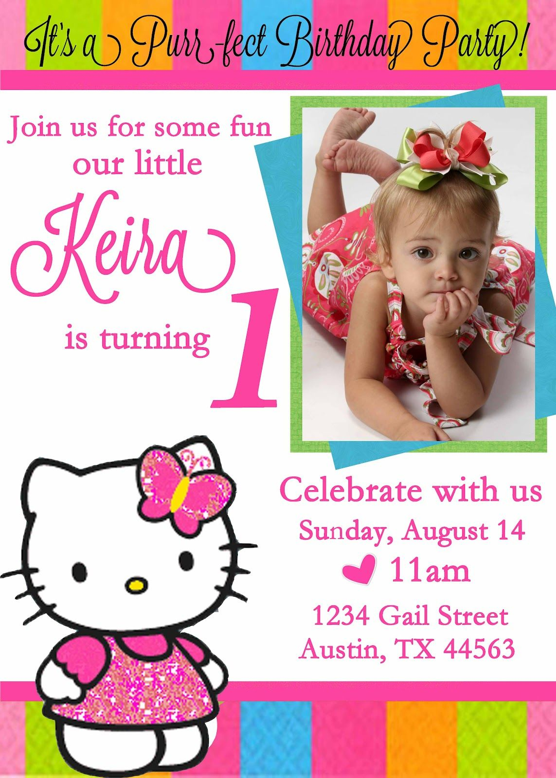 Personalized Hello Kitty Birthday Invitations - | Free Printable - Free Printable Personalized Birthday Invitation Cards