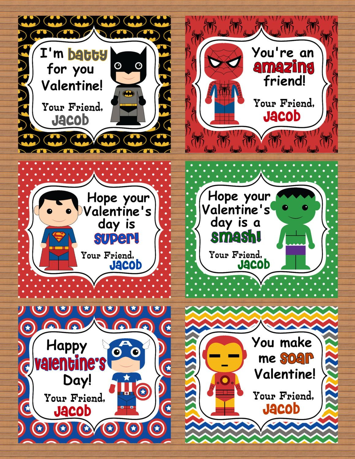 Personalized Superheroes Boys Valentine Class Cards Por Susanefird - Free Printable Superman Valentine Cards
