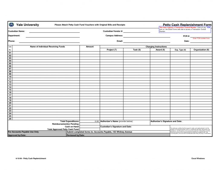 Free Printable Petty Cash Template