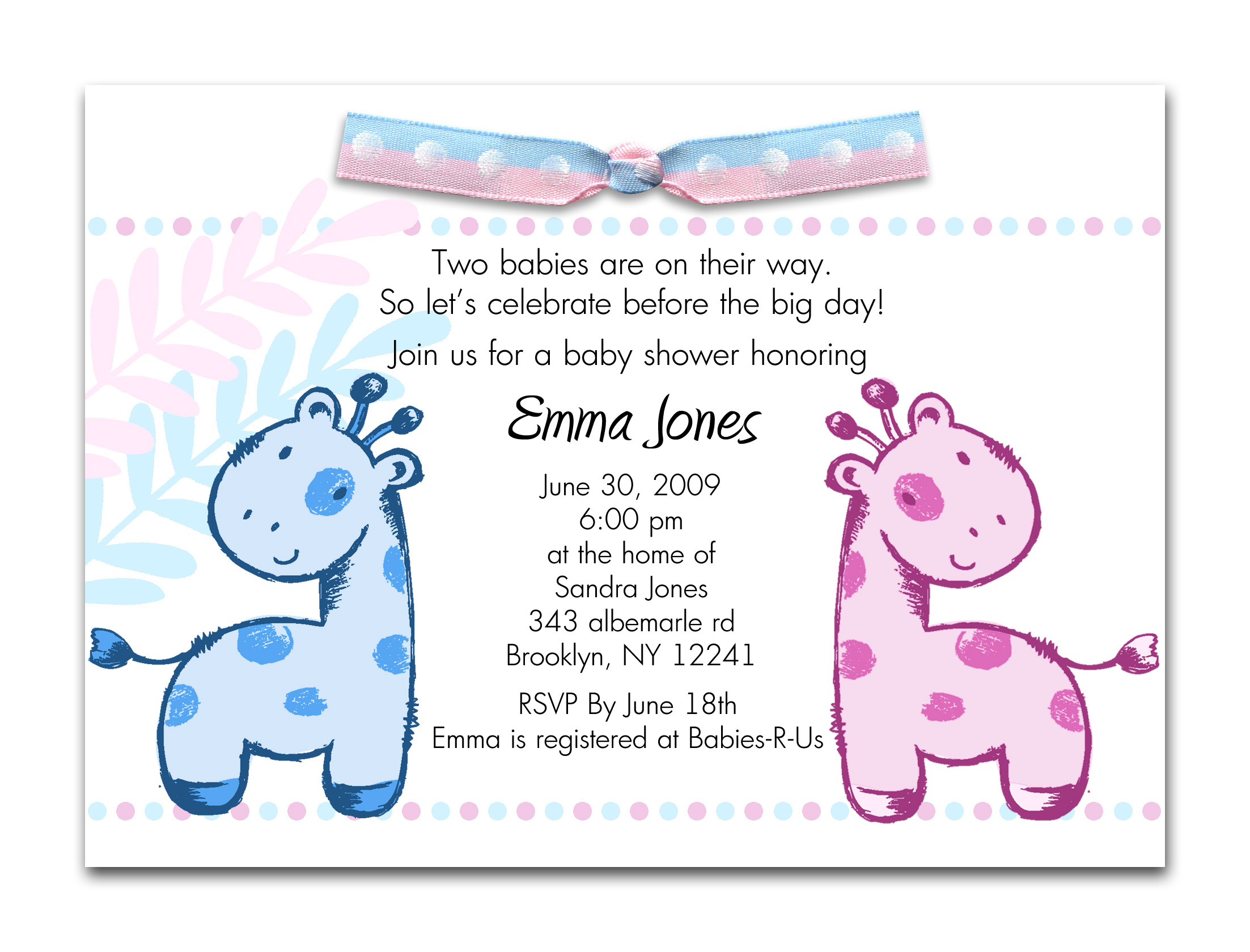 Photo : Couples Twin Baby Shower Image - Free Printable Twin Baby Shower Invitations