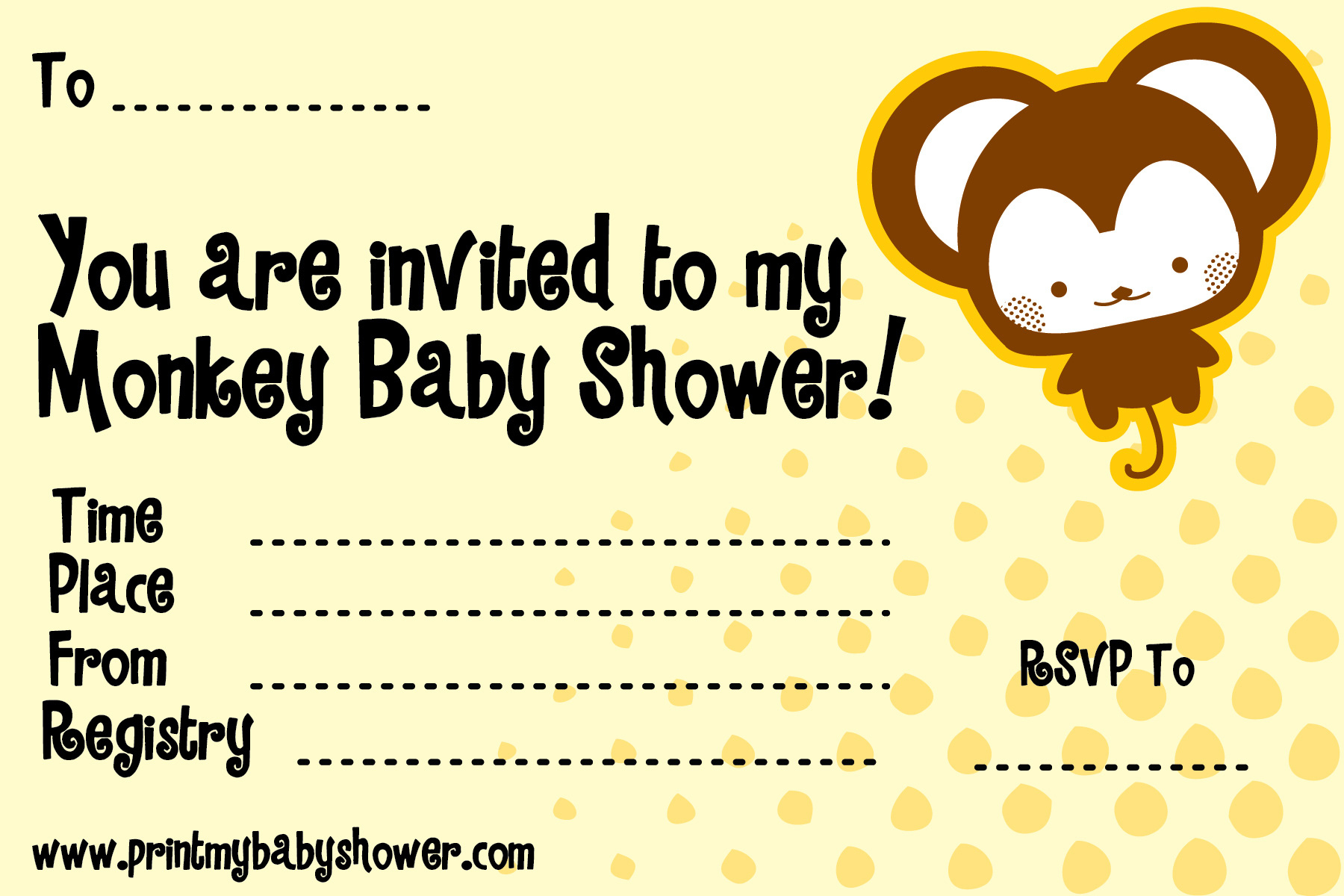 Photo : Free Baby Shower Invitation Templates Image - Free Printable Monkey Girl Baby Shower Invitations