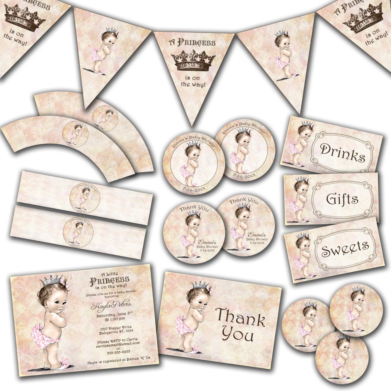 Photo : Handmade Princess Baby Shower Invitations Image - Free Printable Princess Baby Shower Invitations