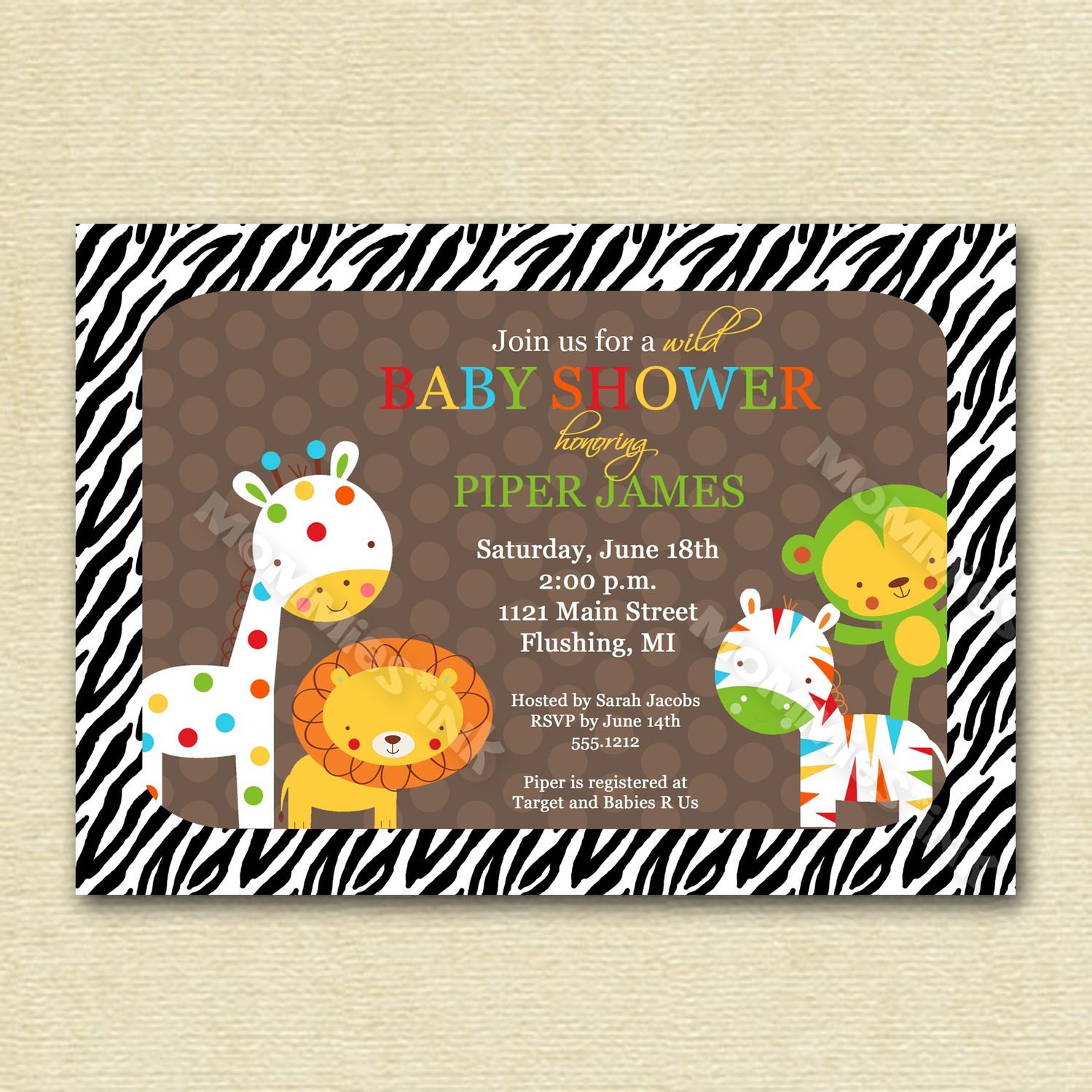 Photo : Safari Baby Shower Invitations Image - Free Printable Jungle Safari Baby Shower Invitations