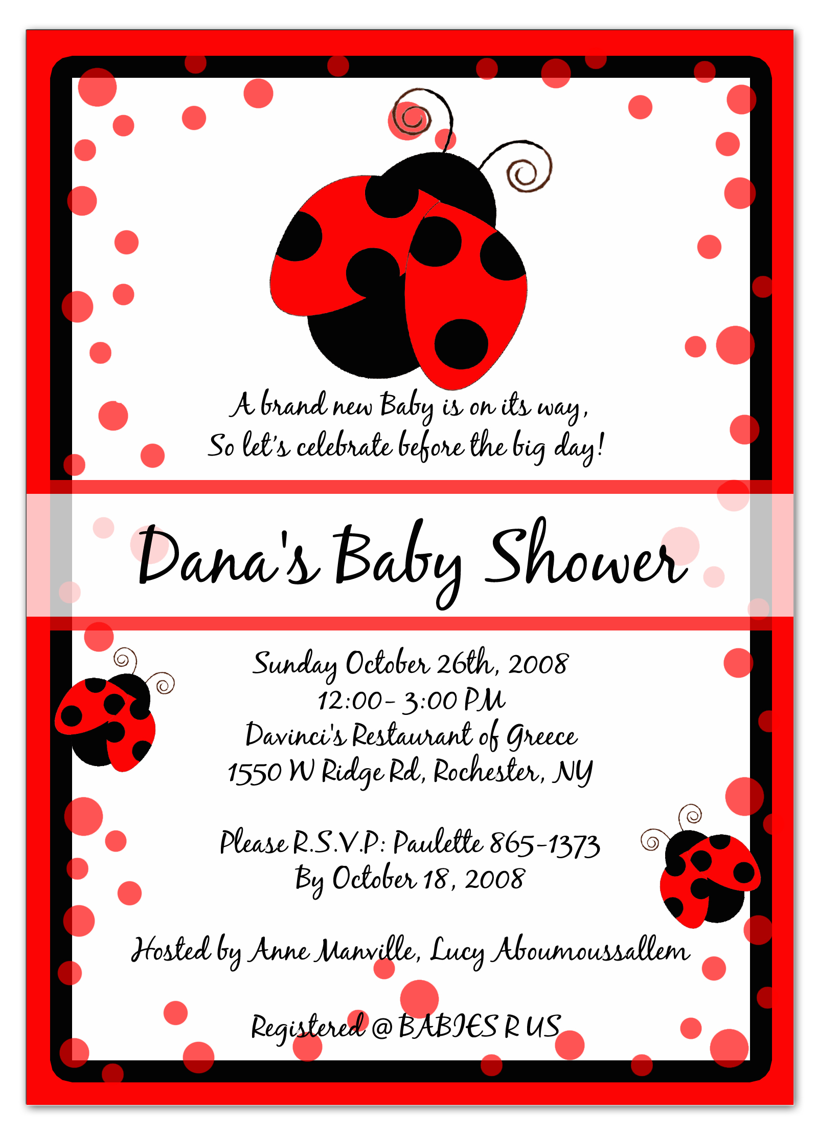 Photo : Te Shower Invitation Jpg Image - Free Printable Ladybug Baby Shower Invitations Templates