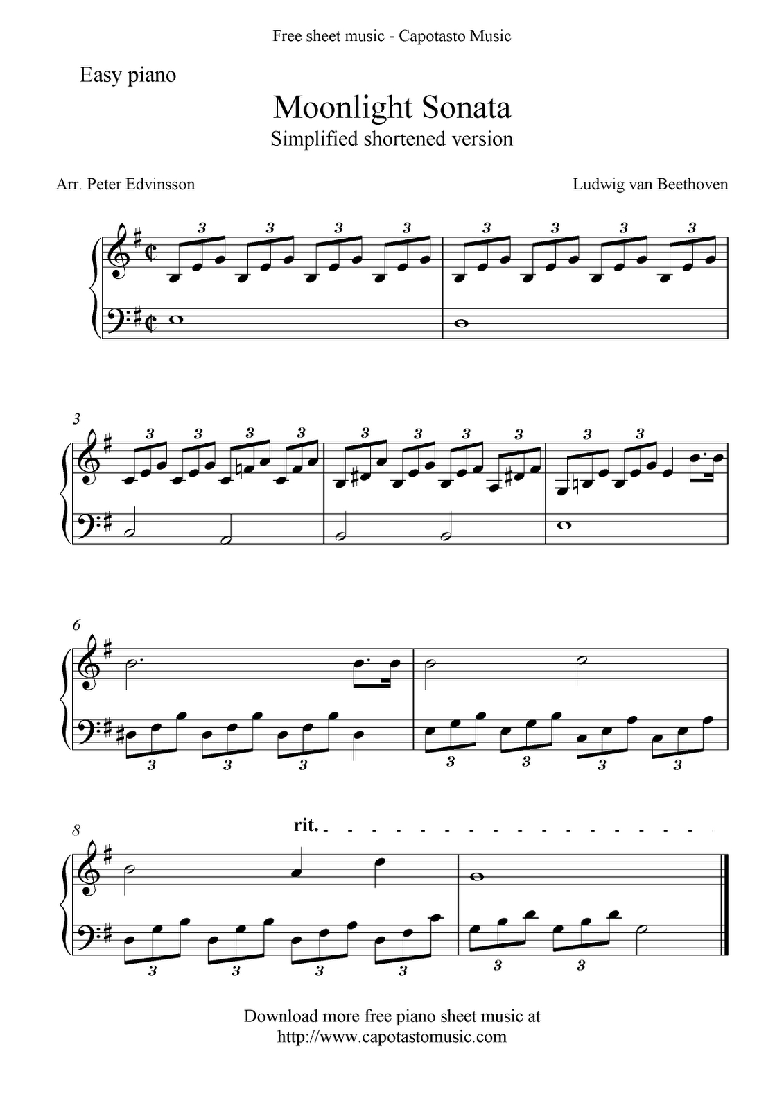 Piano Sheet Music For Beginners   Free Sheet Music Scores: Free Easy - Free Printable Piano Pieces