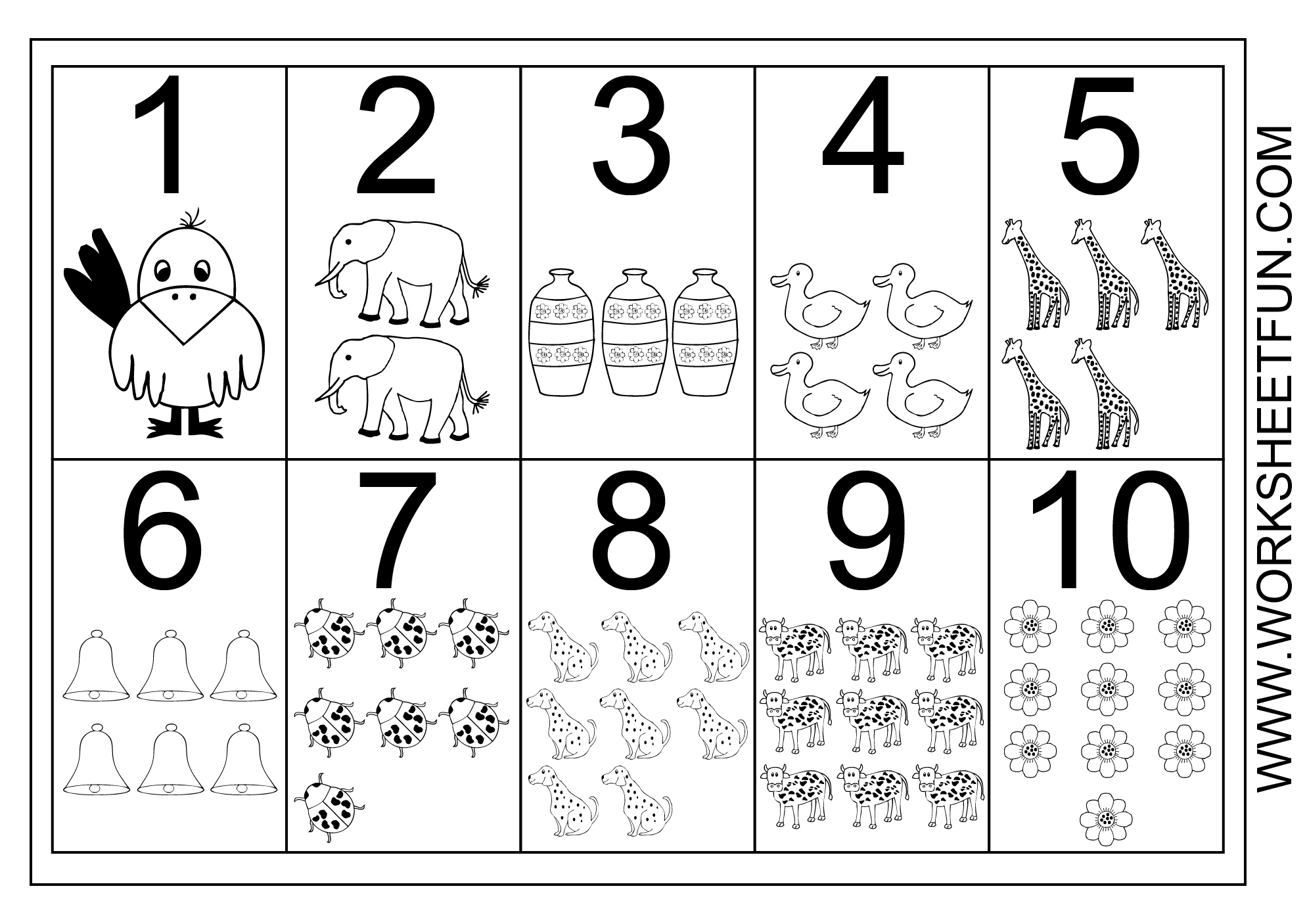 Picture Number Chart 1-10 | Printable Worksheets - Free Printable Number Chart 1 10
