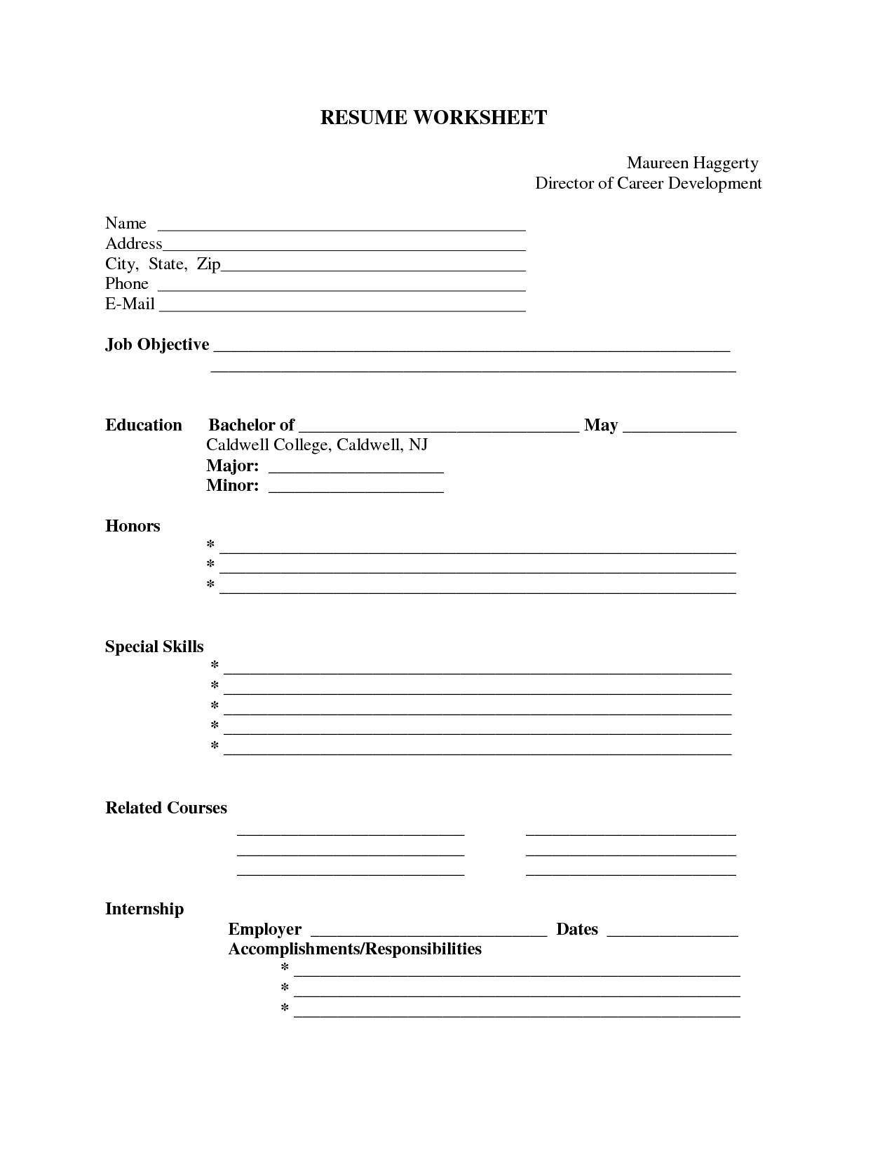 Pin Oleh Jobresume Di Resume Career Termplate Free | Resume Form - Free Blank Resume Forms Printable
