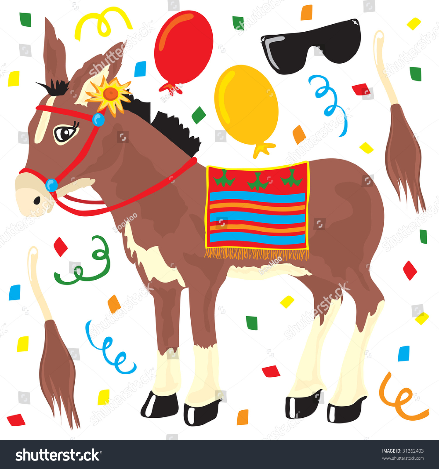 Pin Tail On Donkey Party Elements Stock Vector (Royalty Free - Pin The Tail On The Donkey Printable Free