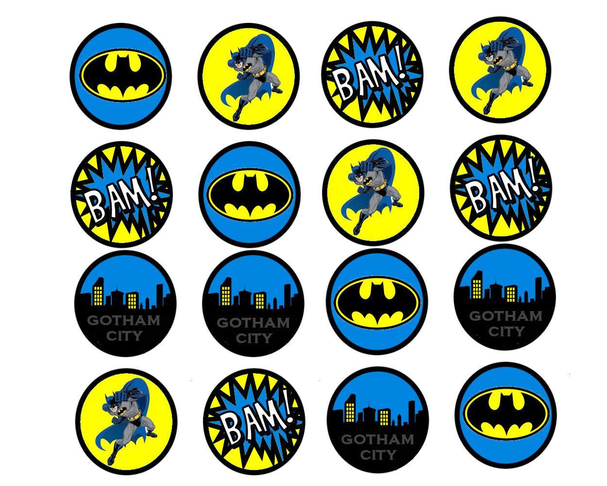 Pincindy Warner On Bottle Cap Images In 2019   Batman Birthday - Batman Cupcake Toppers Free Printable