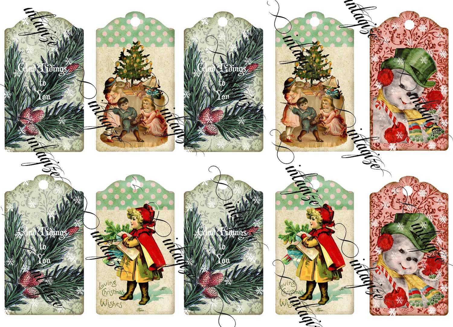 Pinjoan Keller On Vintage Looking Tags For All Time | Pinterest - Free Printable Vintage Christmas Tags For Gifts