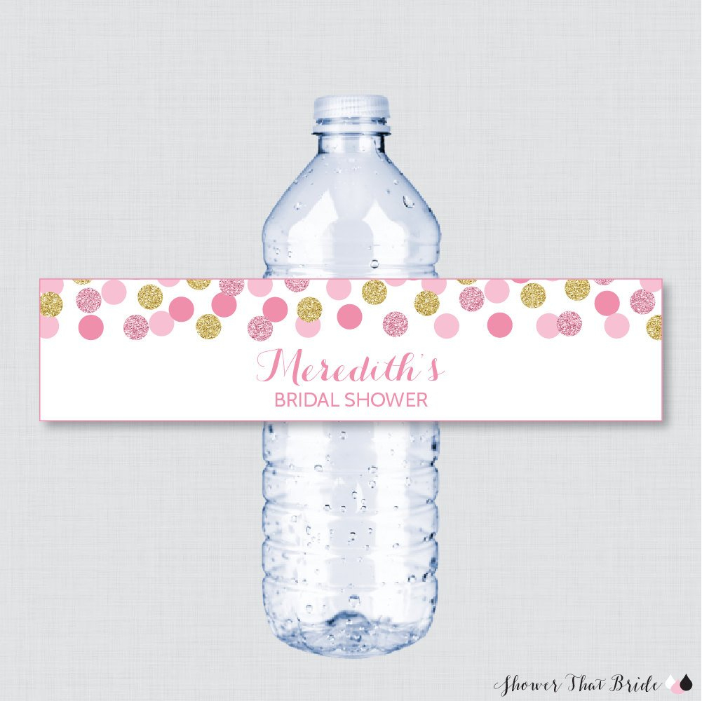 Pink And Gold Bridal Shower Printable Water Bottle Labels Huge Shower - Free Printable Water Bottle Labels Bachelorette