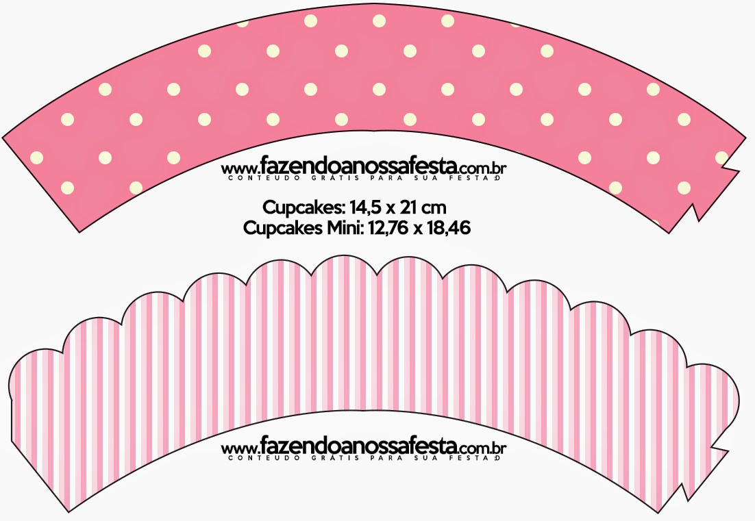 Pink And White Stripes And Polka Dots Free Party Printables And - Free Printable Minnie Mouse Cupcake Wrappers