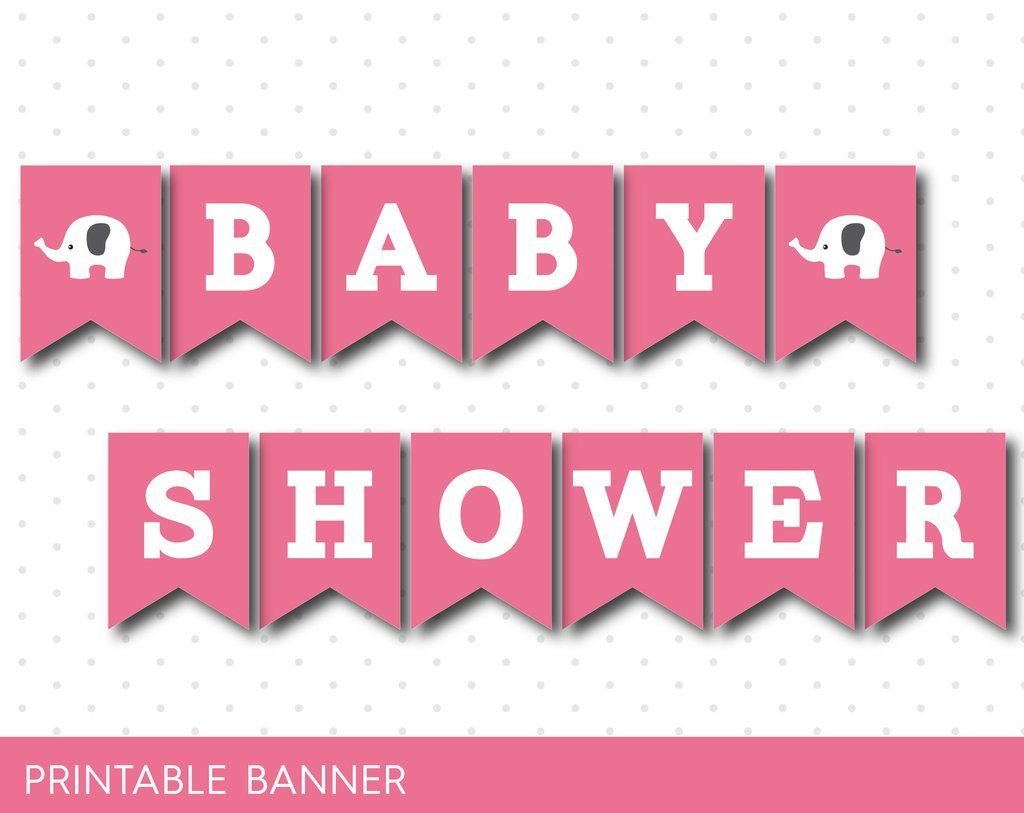 Pink Baby Shower Banner With Letters And Numbers, Elephant Printable - Free Printable Baby Shower Banner Letters