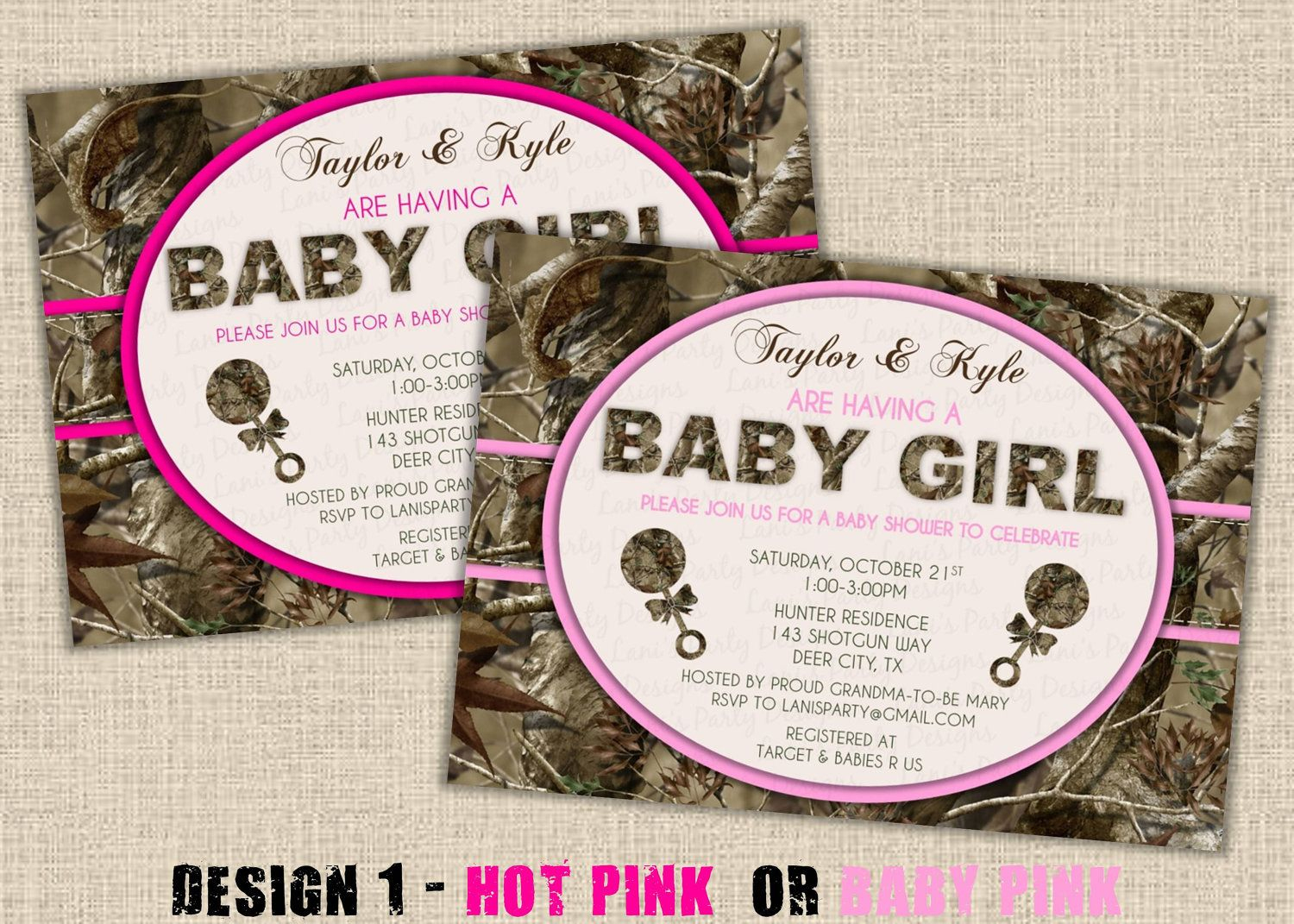 Pink Camo Baby Shower Supplies   Pink Hunting Camo Baby Shower - Free Printable Camo Baby Shower Invitations