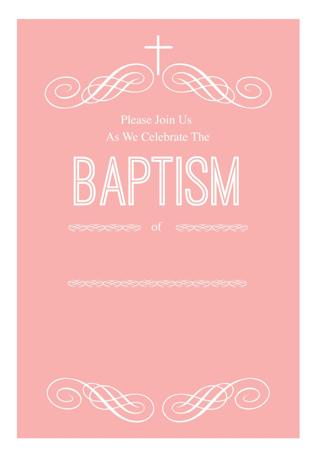 Pink Decorations - Free Printable Baptism & Christening Invitation - Free Printable Baptism Greeting Cards