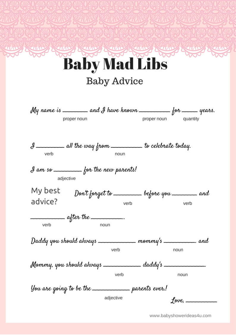 Pink-Lace-Free-Baby-Shower-Mad-Libs-Baby-Advice | Mad Hatter Baby - Baby Shower Mad Libs Printable Free