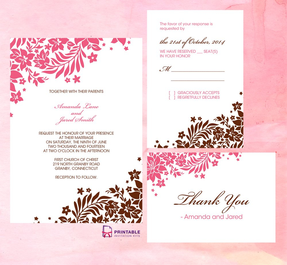 Pink Wedding Invitation Kits Pink And Brown Foliage Wedding - Free Printable Wedding Invitation Kits