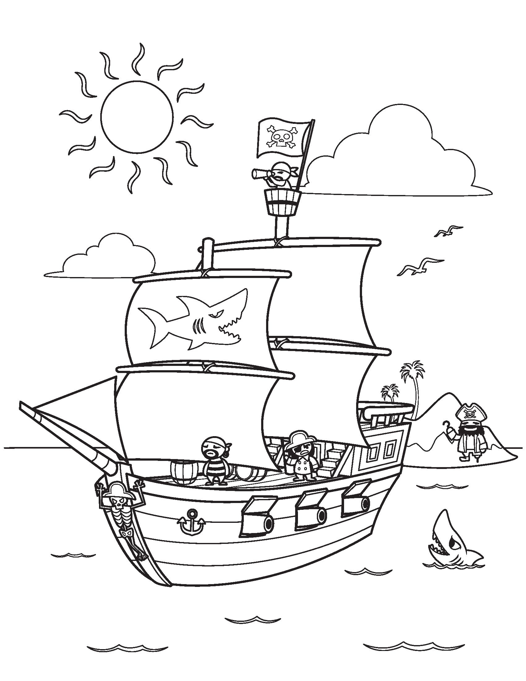 Pirate Ship Coloring Pages Kidsfreecoloring   Free Download Kids - Free Printable Boat Pictures