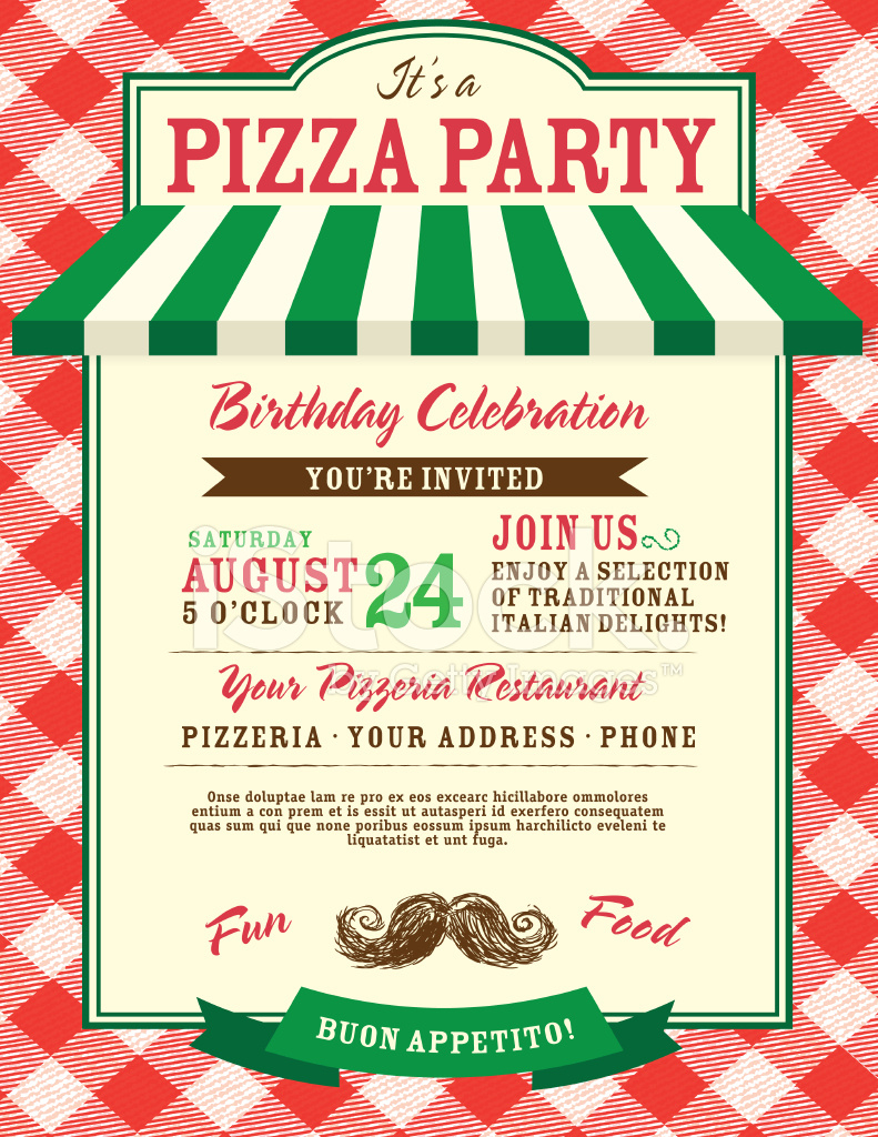 Pizza And Birthday Party Invitation Design Template Stock Vector - Free Printable Italian Dinner Invitations