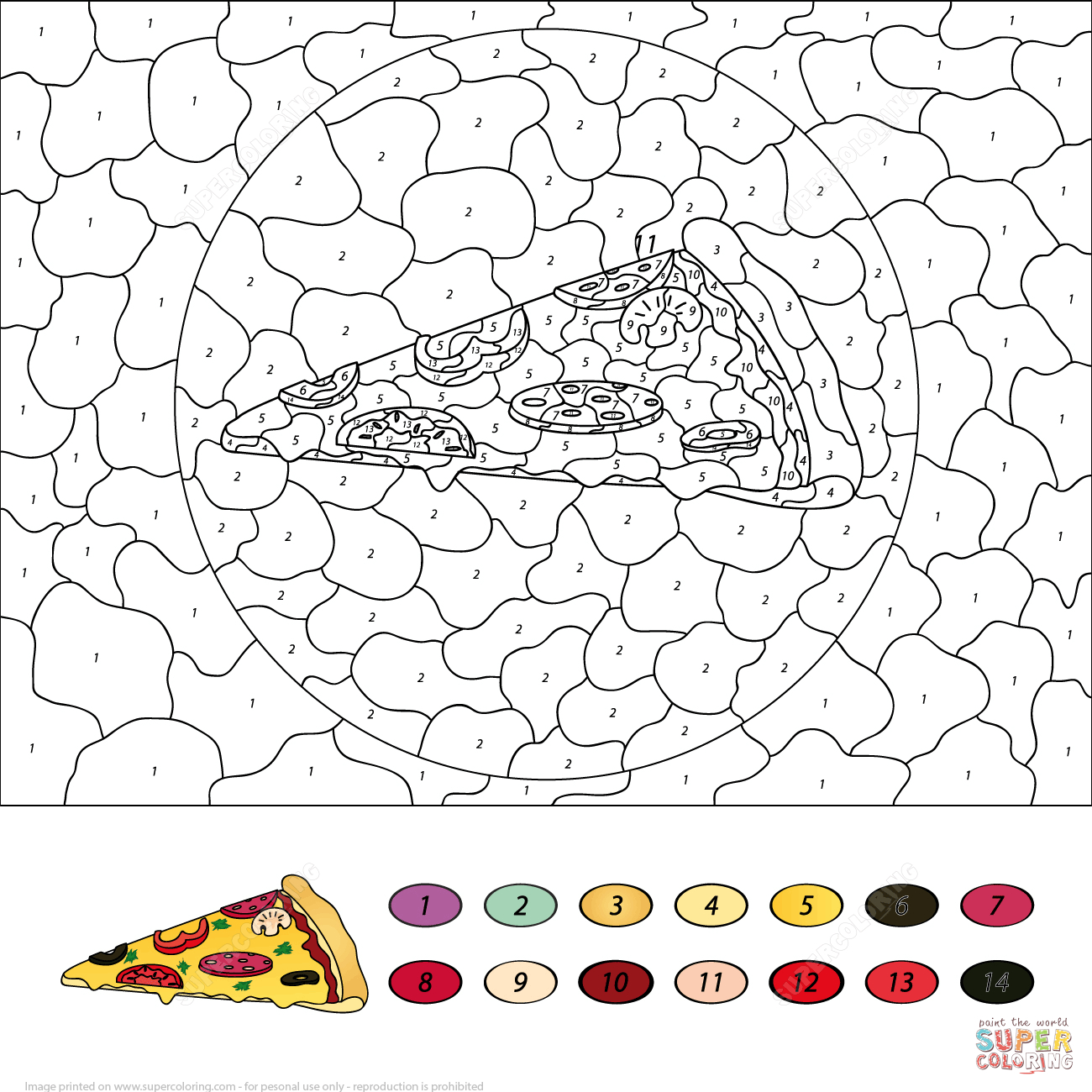 Pizza Colornumber | Free Printable Coloring Pages - Free Printable Paint By Number Coloring Pages
