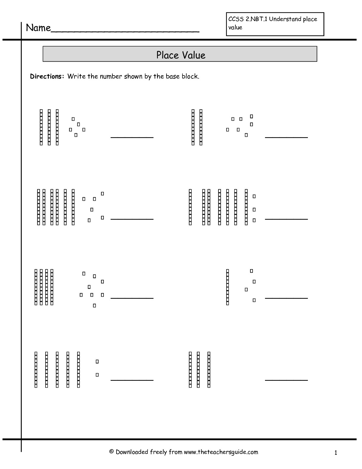 Place Value Worksheets From The Teacher's Guide - Free Printable Base Ten Block Worksheets