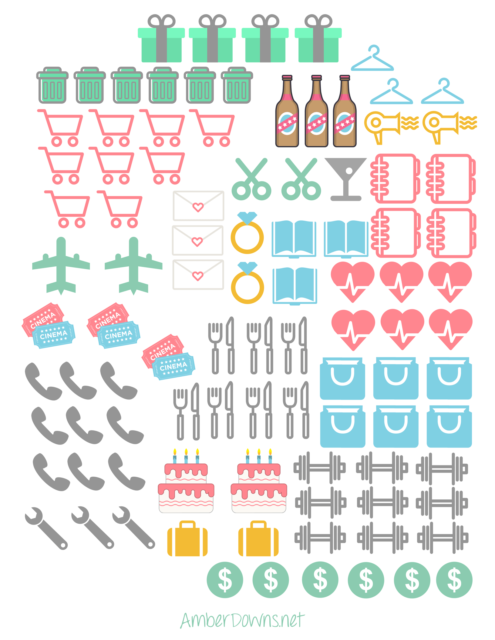 Planner Icon Stickers- Free Printable | Prefect Printables | Planner - Free Printable Stickers