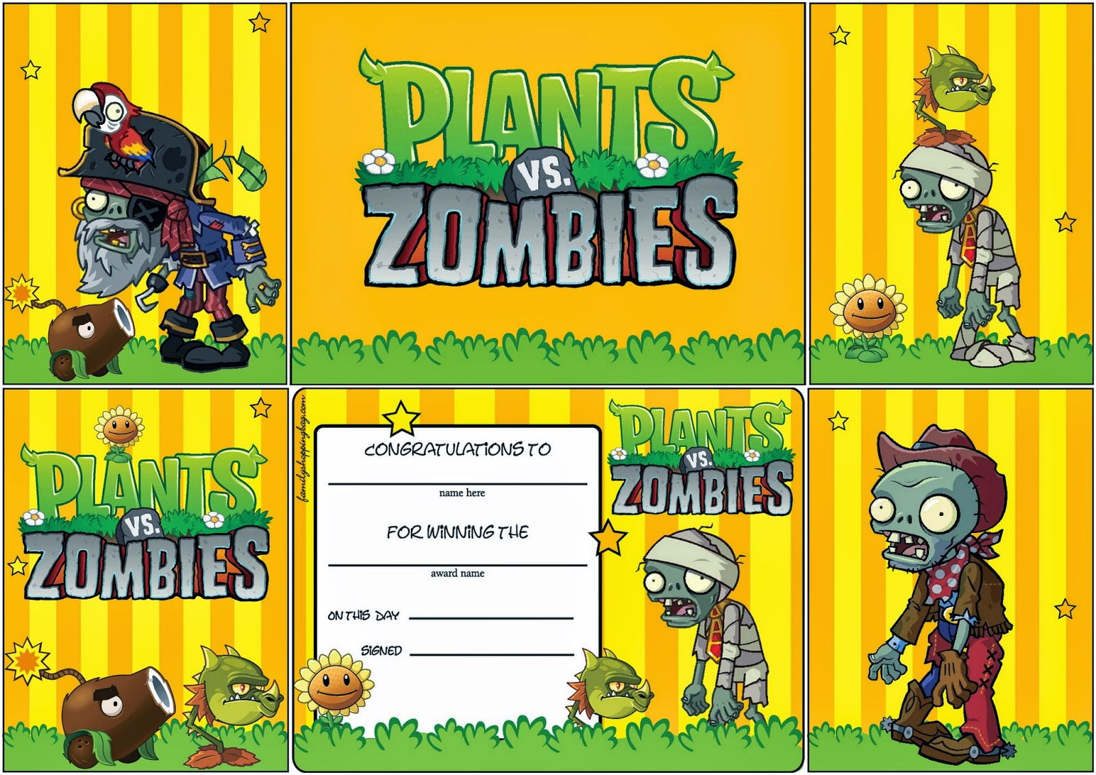 Plants Vs Zombies: Free Printable Cards Or Invitations.   Oh My - Plants Vs Zombies Free Printable Invitations