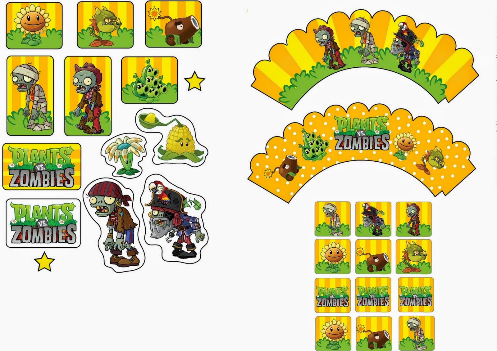 Plants Vs Zombies: Free Printable Cupcake Toppers And Wrappers. | Oh - Free Printable Minecraft Cupcake Toppers And Wrappers