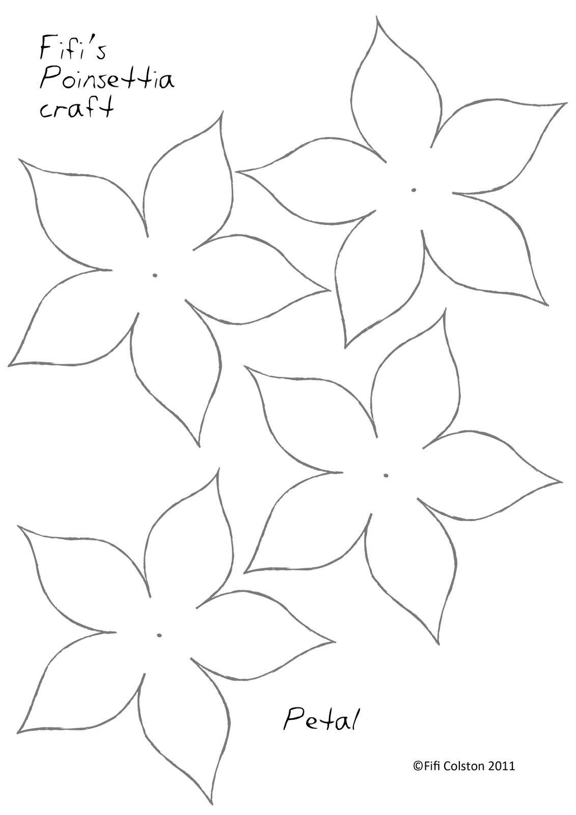 Poinsettia Paper Flower Template …   Paper Flowers   Paper… - 5 Petal Flower Template Free Printable