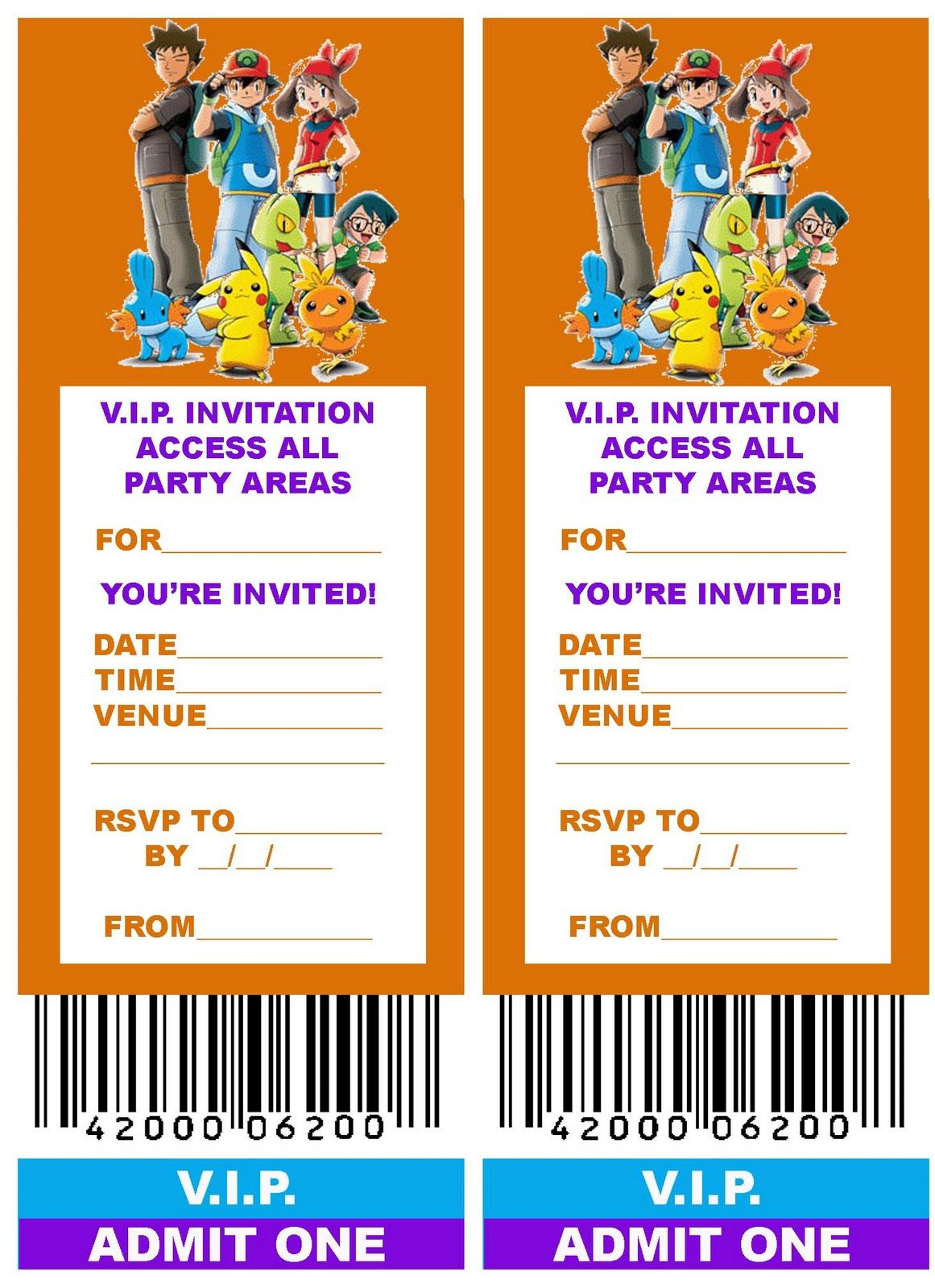 Pokemon Coloring Pages: Free, Printable Vip Ticket Style Birthday - Pokemon Invitations Printable Free