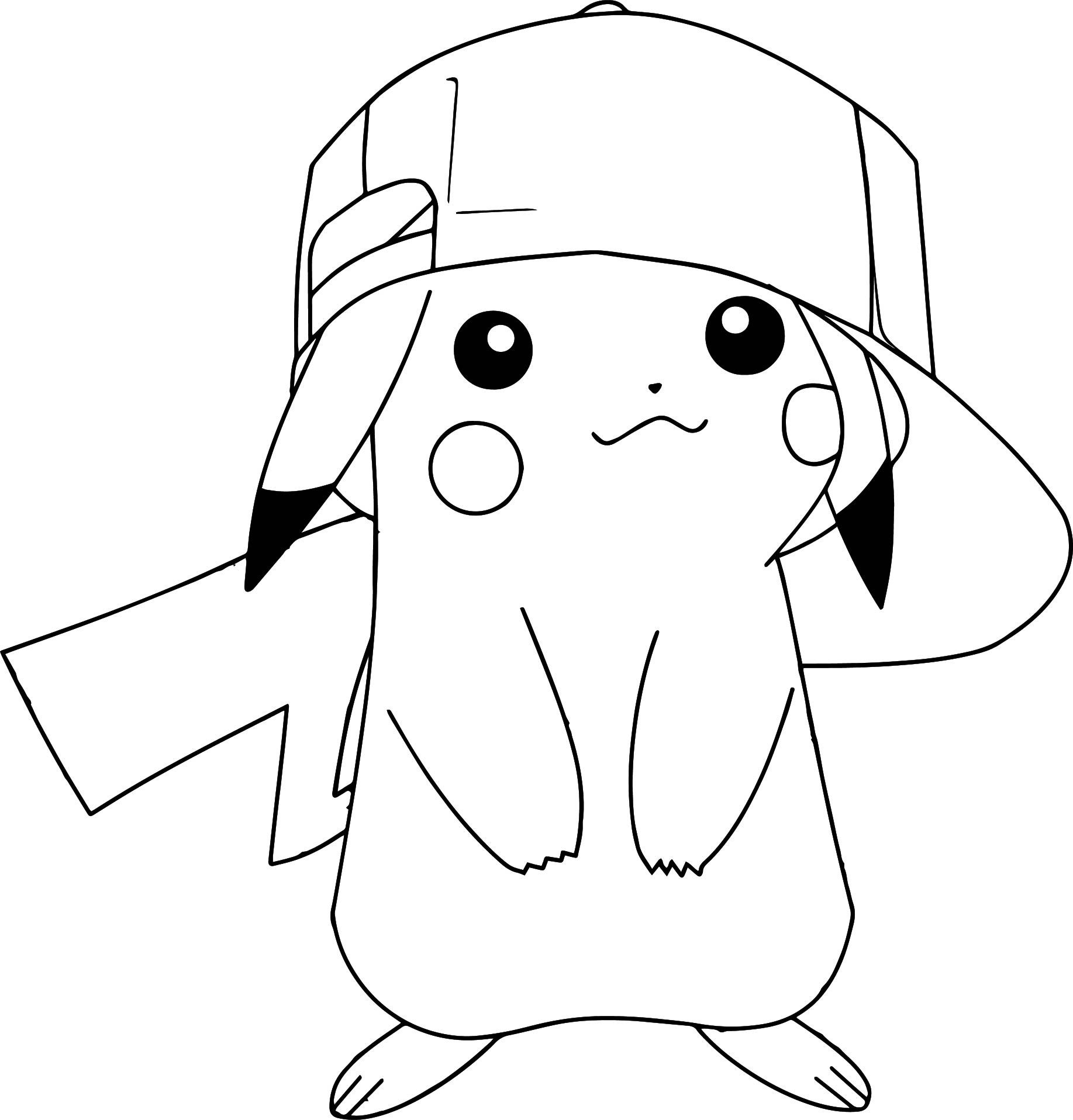 Pokemon Coloring Pages Pikachu Wearing Hat | Michelle | Pinterest - Free Printable Pokemon Coloring Pages