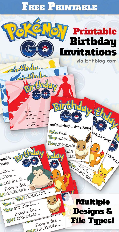 Pokémon Go: Birthday Go Free Printable Invitations   Pokemon Go - Pokemon Invitations Printable Free
