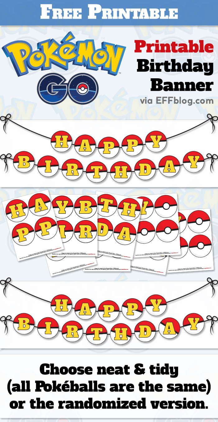 Pokémon Go: Pokébanner Free Printable Birthday Banner - Free Printable Pokemon Pictures
